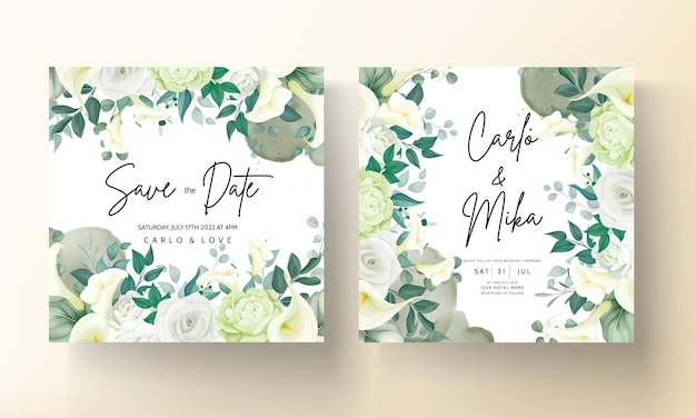 Luxury greenery lily and rose flower wedding invitation card