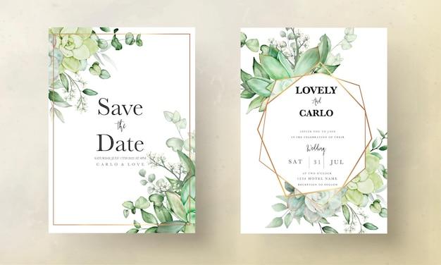 Роскошная зелень свадебная пригласительная открытка с цветочным рисунком