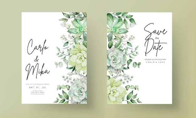 Carta di invito di nozze verde di lusso floreale