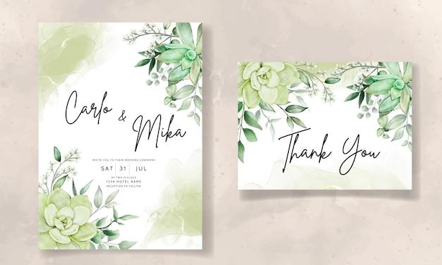 Luxury greenery wedding invitation card floral