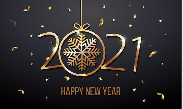 Luxury greeting card invitation with happy new year 2021 with snowflake gold glitter confetti and shine