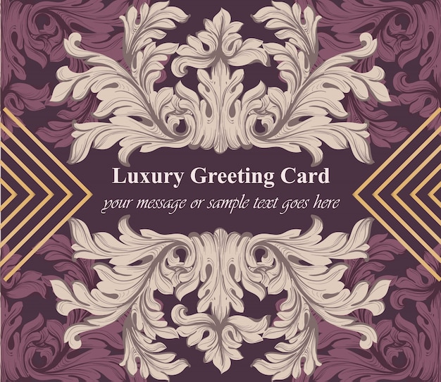 Luxury greeting card with baroque ornament