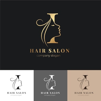 Luxury hair salon logo set