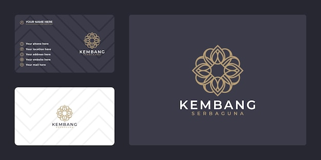 Luxury hand draw beauty flower logo design and business card