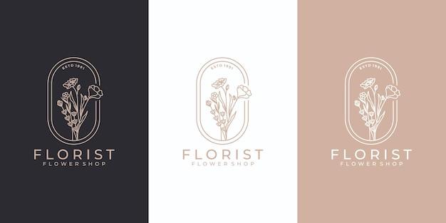 豪華な手描きの美しさの花のロゴデザインのインスピレーション