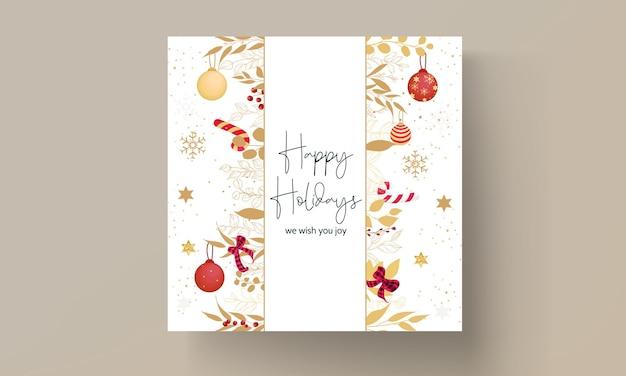 豪華な手描きのメリークリスマスカード