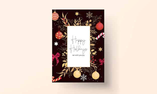 럭셔리 손으로 그린 메리 크리스마스 카드