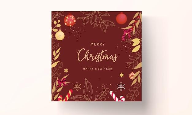 Роскошная рисованная веселая рождественская открытка