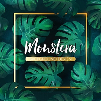 Luxury hand drawn monstera tropical leaves background with golden frame