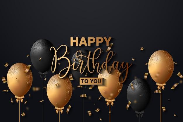 Роскошный фон с днем рождения с реалистичным вектором воздушных шаров