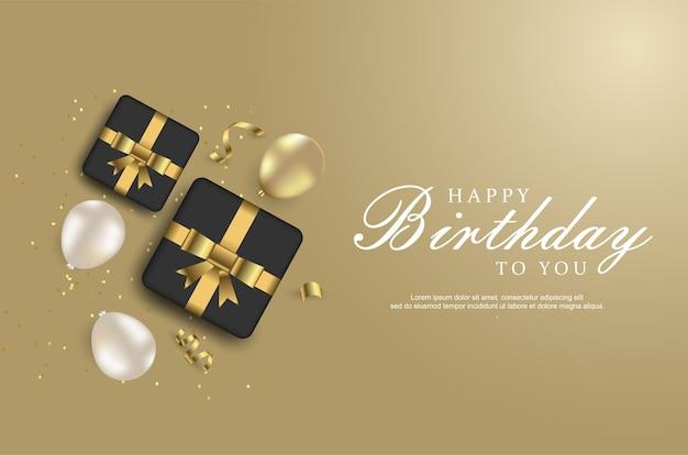 Роскошный фон с днем рождения с реалистичными воздушными шарами и подарочной коробкой.