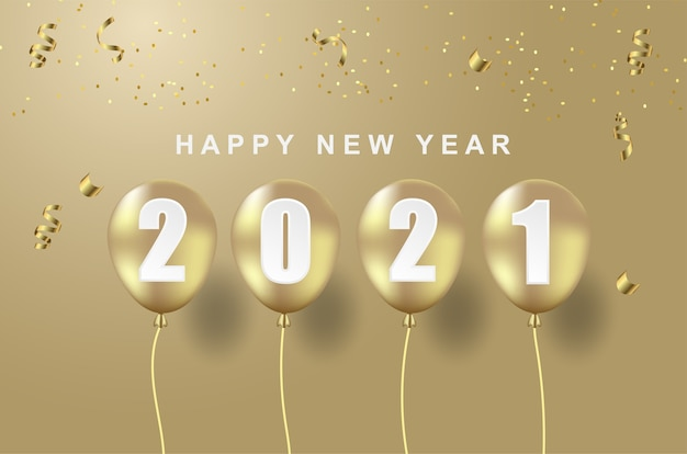 Luxury happy new 2021 year with balloon on gold background.