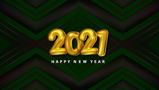 Luxury happy new year 2021 with papercut decoration halftone