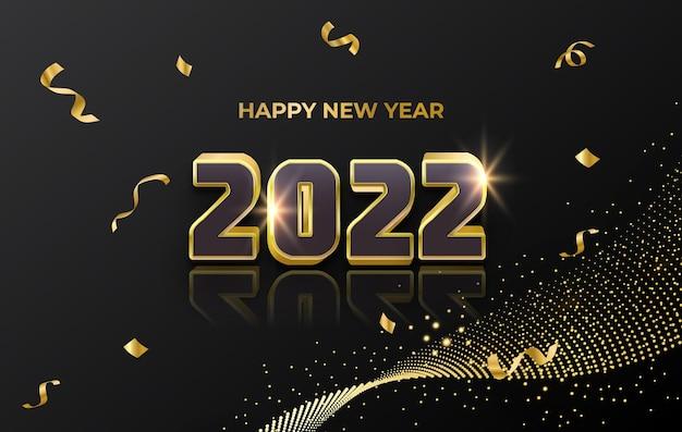 Роскошная золотая праздничная открытка с новым годом с блестящими частицами и абстрактным фоном конфетти