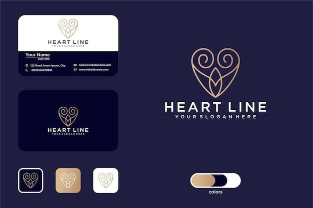 럭셔리 하트 라인 아트 로고 디자인 및 명함