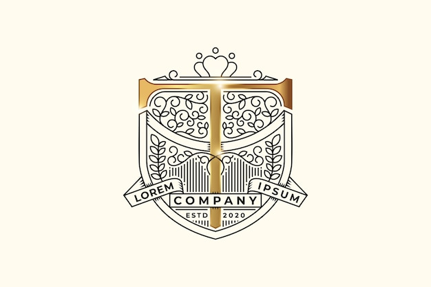 Luxury heraldic emblem with letter t initial logo design template