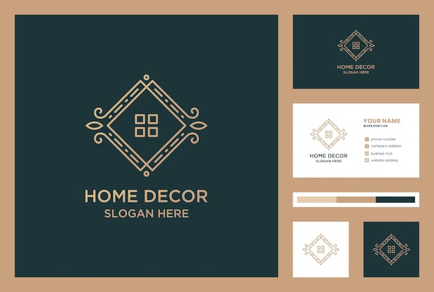 Luxury home decoration logo design with business card