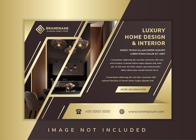 럭셔리 홈 디자인 및 인테리어 전단지 디자인 템플릿은 가로 레이아웃을 사용합니다. 골드 라인 요소와 갈색 그라데이션 배경입니다. 사진 콜라주의 공간에 대 한 대각선 모양입니다.