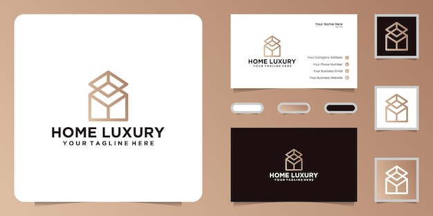 Luxury home design logo with line art style and business card inspiration