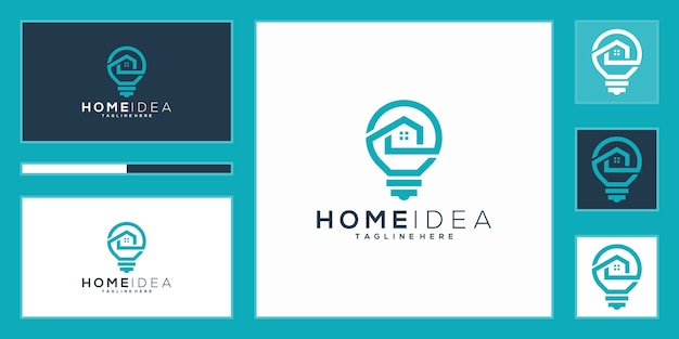 Luxury home idea logo. light bulb and home with line art style