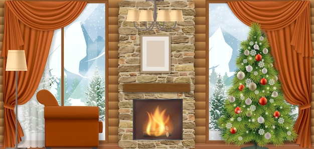 Luxury home interior with a fireplace and mountain view through the window.