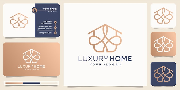 Luxury home line art style inspiration minimalist design. abstract logo home line style,icon company with business card vector template design. premium vector