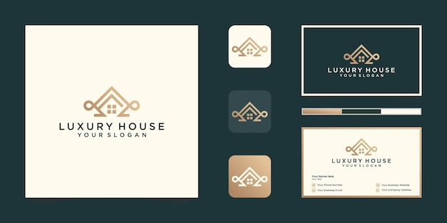 Роскошный домашний профессиональный шаблон дизайна логотипа и дизайн визитной карточки