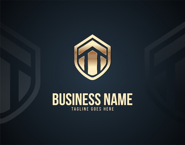 Luxury home security logo template design vector with gold color effects