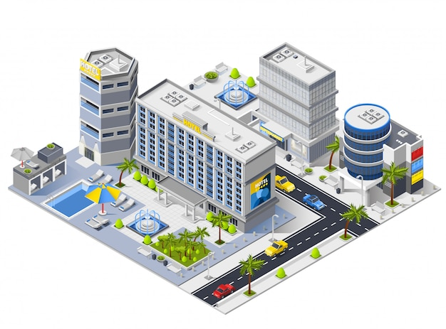Luxury hotel buildings isometric composition