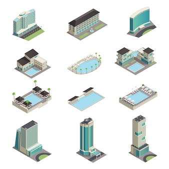 Luxury hotel buildings isometric icons