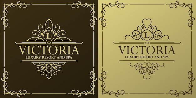 Luxury hotel label template. trendy vintage royal ornament frames illustration.