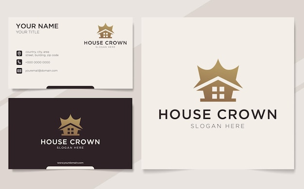 Luxury house crown logo and business card template