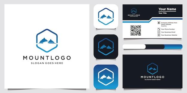 豪華なアイコンテンプレートモダンな山のロゴデザインと名刺