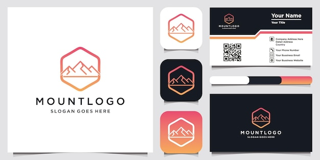 Luxury icon template modern mountain logo design and business card