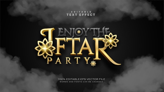 Luxury iftar party text effect