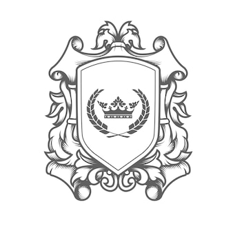 Luxury imperial coat of arms template, laced heraldic shield with king crown