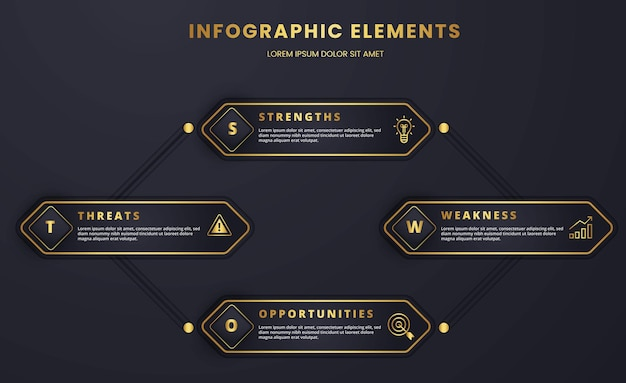 Luxury infographic swot strategic and analysis business template graphic