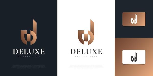 골든 그라디언트의 럭셔리 초기 편지 d 로고 디자인 템플릿. 귀하의 비즈니스 회사 및 기업 아이덴티티에 대한 d 기호