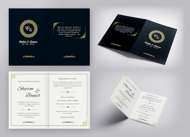 Luxury invitation card design with golden shining effects