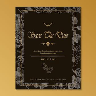 Luxury invitation card line art vintage style