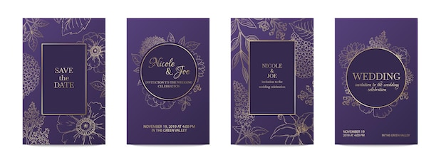 럭셔리 초대 카드. 웨딩 장식 꽃 황금 서식 파일