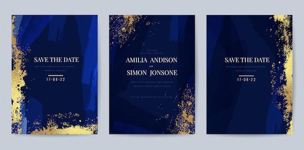 Luxury invitation cards with gold and indigo background
