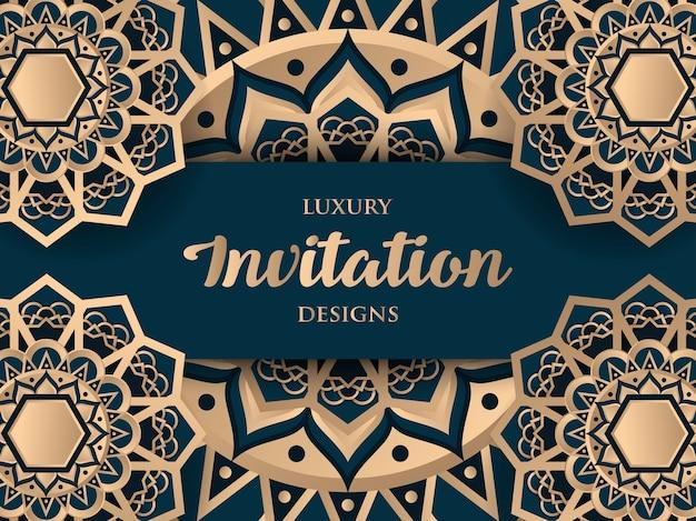 Luxury invitation design with gold mandala ornament