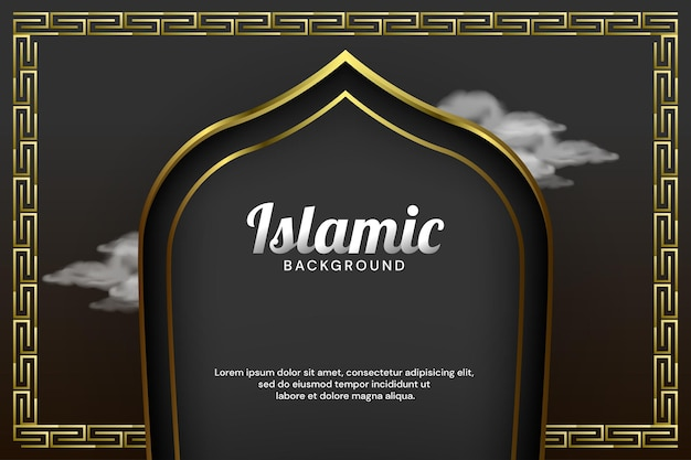 Luxury islamic banner background with mosque door and arabsque border vector illustration