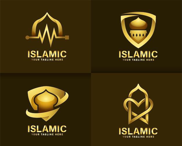 Роскошный исламский логотип. шаблон дизайна логотипа золотая мечеть