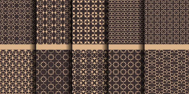 Luxury islamic seamless patterns, arabic decorative ornaments with stars and swirls Premium Vector