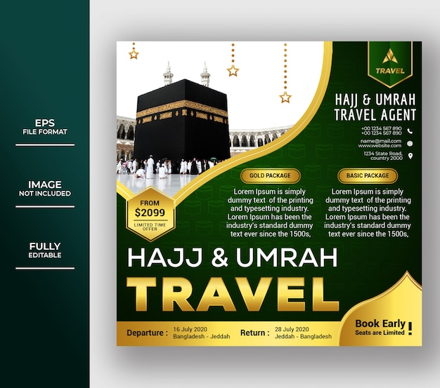 Luxury islamic umrah and hajj social media post template design