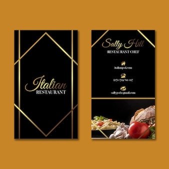 Luxury italian food vertical business card template