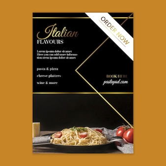 Luxury italian food vertical flyer template