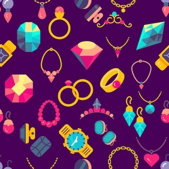 Luxury jewelry flat style seamless pattern purple illustration
